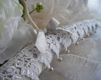 Ivory Satin Padded Wedding Gown Hanger Vintage Inspired Second Wedding Ivory With Lace And Pearls Hand Sewn designed by handcraftUSA