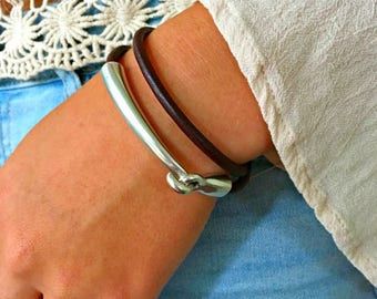 Leather bracelet   Womens leather bracelet   Mom gift   Wrap bracelet   Leather and silver   Gift for her   Boho jewelry   Leather wrap
