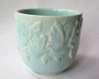 McCoy Aqua Blue Butterfly Jardiniere Vase Planter Marked NM USA Nelson McCoy 1940s Art Pottery Cottage Chic Vintage Wedding Decor