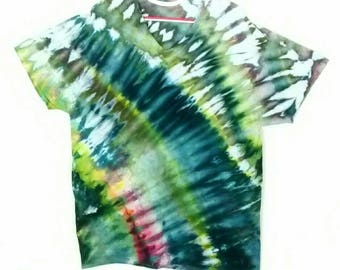 Green Teal Gold Ice Dyed Tee Shirt men's size 2XL