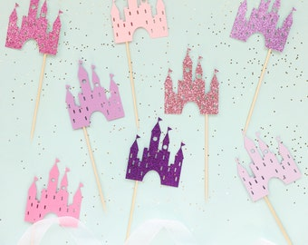 Castle Cupcake Toppers | Princess Cupcake Toppers | Birthday Cupcake Toppers | Princess Party Decorations | Glitter Castle Decorations
