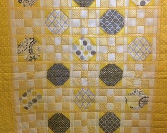 Handmade Quilt, Yellow and Gray Geometric Quilt, Modern Quilt