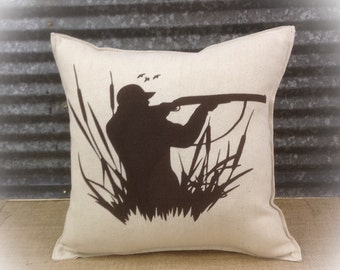 Decorative Pillow with a hunter in the reeds.  COMPLETE pillow. Hunting decor Duck pillow Lodge decor Cabin decor
