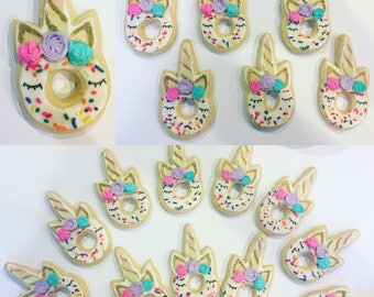 Donut stop believing unicorn theme sugar cookies (12)