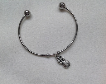 Stainless Steel Cuff Bracelet with Pineapple Charm