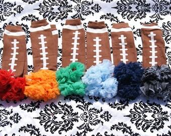 Football Leg warmers. Girl Leg warmers, Ruffle Leg warmers, Baby legs. You choose your Color. NFL  1 Pair Football Leg warmers with chiffon