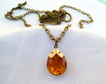 Topaz Rhinestone Necklace - Vintage Glass Rhinestone Necklace - November Birthstone Necklace - Metal Leaf Necklace - Free Shipping