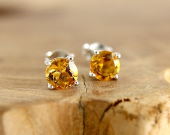 Citrine stud earrings Sterling silver 6 mm yellow stud earrings with natural stone November birthstone jewelry