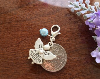 Bridal lucky charm, bridal garter charm, wedding memorial charm, something blue bridal bouquet charm, wedding bouquet sixpence