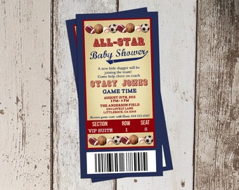 All star themed baby shower invitation all sports ticket baby shower invitation sports baby shower printable invitation filmwisefo