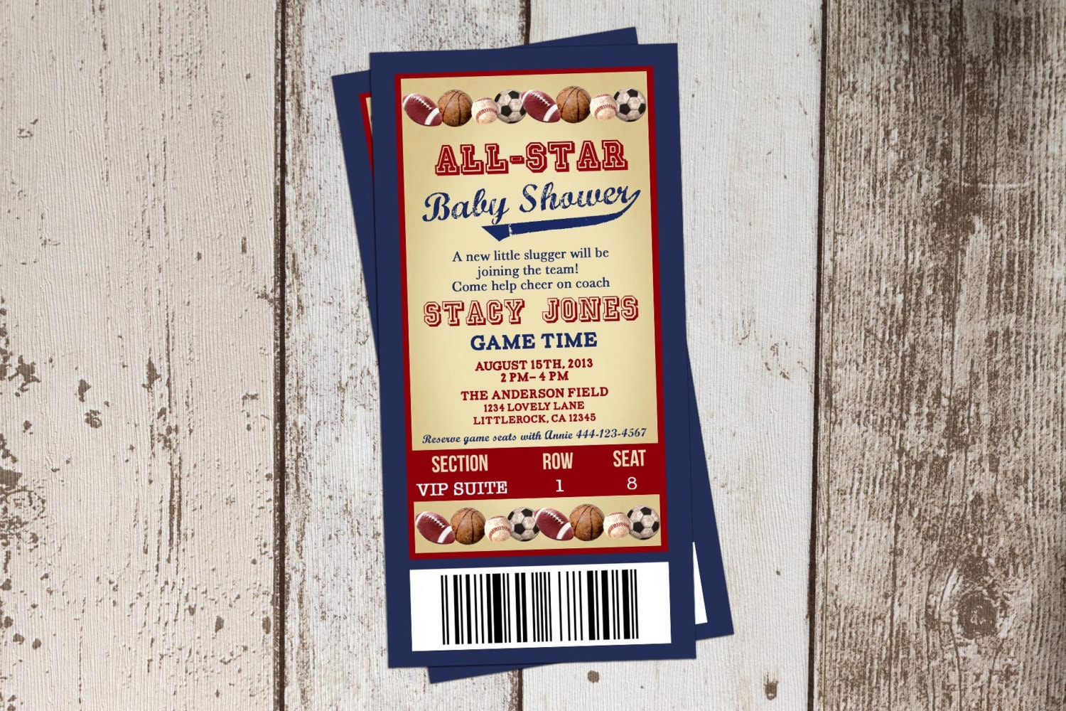 Sports Baby Shower Invitation All Star Baby Shower ticket