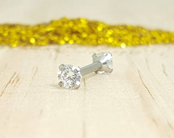 Swarovski Crystal with Polished Titanium 14G Barbell - For Nipple and Industrial piercings