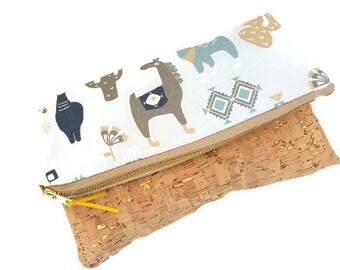 Llama  Canvas Foldover Clutch, with gold fleck cork, tablet sleeve