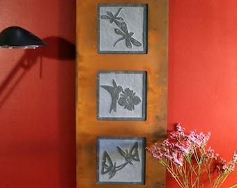Natural Stone Wall Art Trio - Garden on Green Slate w/ Rust Frame