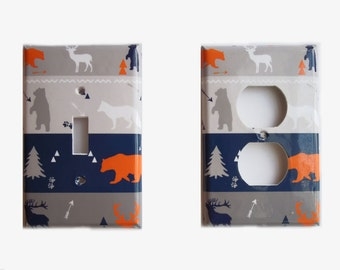 Woodland Animals Switchplate Cover -Woodland Nursery  - Electrical Outlet Cover -  Rocker Plate cover - Orange Gray Navy