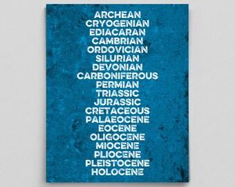 Geologist Gifts Geology Print Geology Poster Jurassic Dinosaur Poster Dinosaur Print Classroom Poster Teacher Gifts Typographic Print Blue