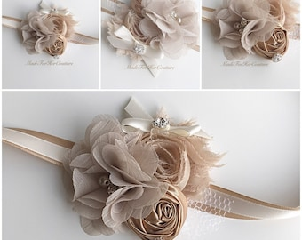 Tan Corsages, rustic Wrist Flower, Wrist Corsage, Wedding Corsage, tan ivory Corsage, Ivory Corsage, Wedding Wrist Band, rustic corsage