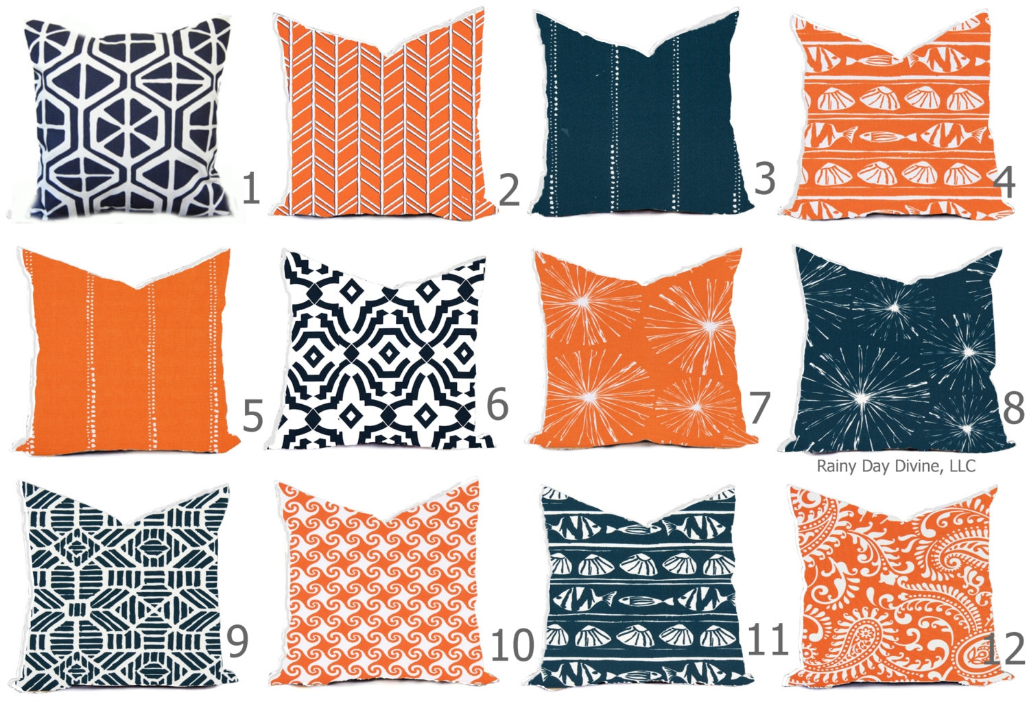 Pillow Pillows Outdoor or Indoor Custom Cover Navy Blue Tangerine
