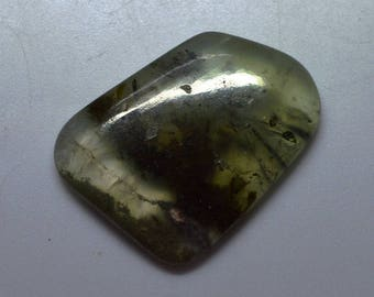 AAA Grade  Super Top Quality Dashing Natural Untreated Rutilated Prehnite 30x24x5 MM Smooth Plain Fancy Shape Cabochon