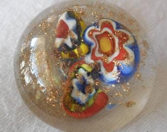 VINTAGE Millefiori Cane Flower Clear Glass BUTTON 2