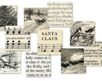 Vintage Sepia Christmas 1 Inch Squares Printable Digital Collage Sheet JPG Format