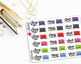 Sleep Variety Pack | Sleep In, Sleep Early, Nap Time, Sleeping Stickers, Sticker Sampler - Hand Drawn, Hand Lettered Planner Stickers