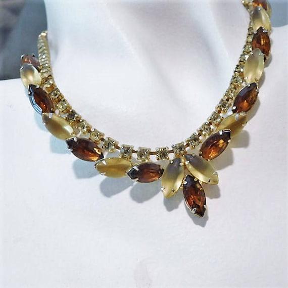 Rhinestone Necklace / Mid Century Jewelry