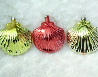 Soviet Christmas Tree ornaments Shells, red-yellow vintage russian New Year balls decoration