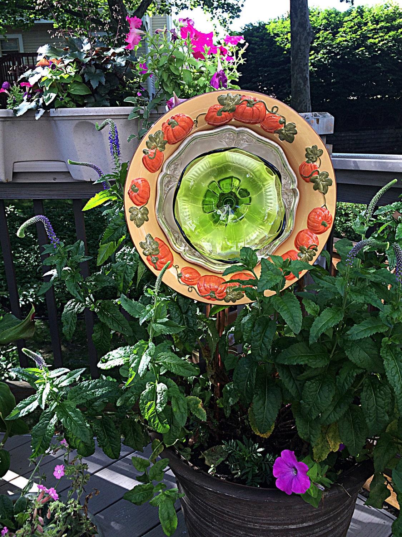 Plate flower Recycled metal art garden stake Pumpkin Fall