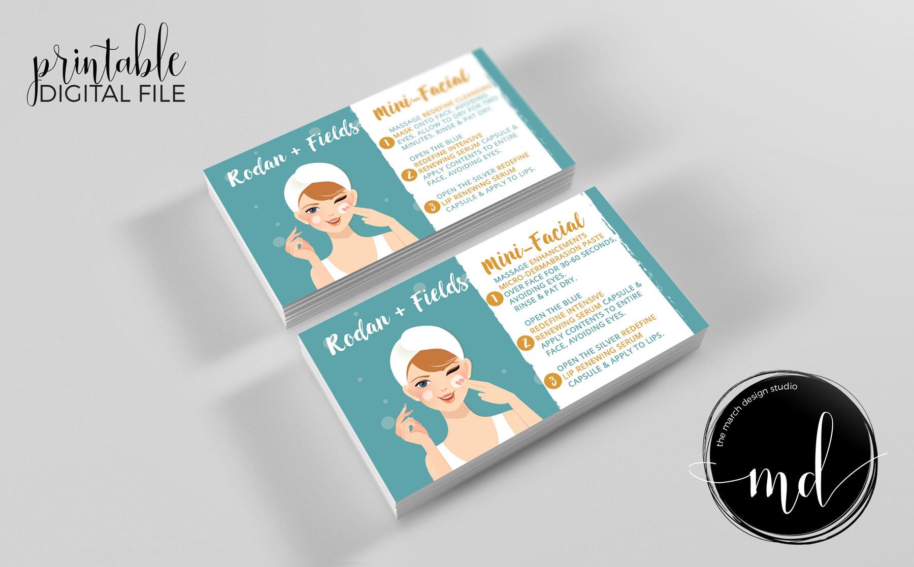 Rodan and Fields Mini Facial Cards Instant Download Rodan