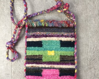 Woven Purse. Small Shoulder Bag. Small Woven Bag. Handmade Woven Purse. Multicolor Purse. Wool Purse. Tapestry Weave Bag. Crossbody Bag. -D