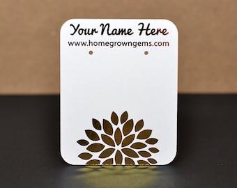 GOLD Metallic on White Custom Earring Cards - Metallic Gold - Flower Bird Shell Heart Floral