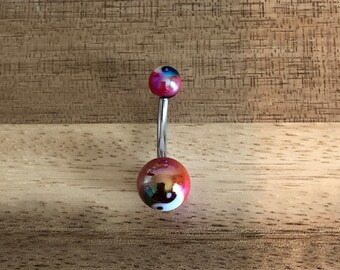 Red Ying Yang Metallic Shiny Balls Acrylic Belly Button Ring Navel Body Piercing Jewelry