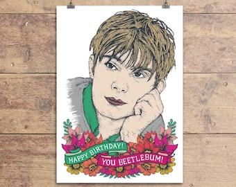 Damon Albarn Greeting Card - Blur Lyric Birthday Greeting Card - Beetlebum Happy Birthday Card