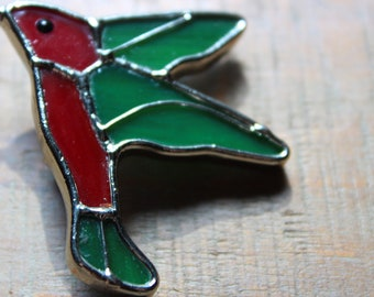 Vintage Stained Glass Green and Red Hummingbird Brooch Pin