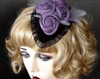 Iridescent Purple Silk Flowered Fascinator On Sale