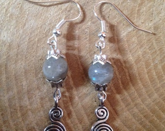 Spiral of Life Labradorite Pagan Earrings Gemstone Pagan/Wicca/Witch/Witcraft/Shamanism/New age/Goth/Boho