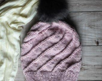 pink winter hat with faux fur pompom, powder pink slouchy hat, handknit winter beanie, women's wool hat