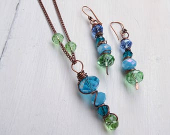 Crystal swarovski Copper Necklace, Copper Crystal Necklace, wire wrapped blue crystal necklace, Valentine gift, gift for her, gift idea