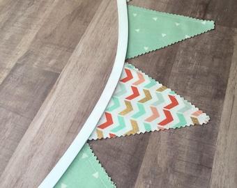 Mint MINI 4x4 Bunting Banner, Mint Fabric Banner, Mint Fabric Flags, Mint Bunting Banner