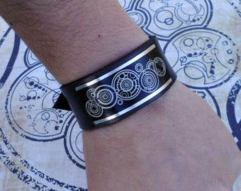 Doctor Who Gallifreyan Time Lord inspired  handmade leather bracelet wrist / cuff