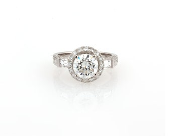 Round Brilliant Diamond Engagement Ring GIA Certified 2.88  CTW 18K White Gold