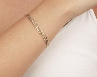 Delicate Gold Bracelet, Dainty Chain Bracelet, Link Bracelet, Geometric Bracelet, Rhombus Gold Bracelet, 24k Gold Plated Jewelry.