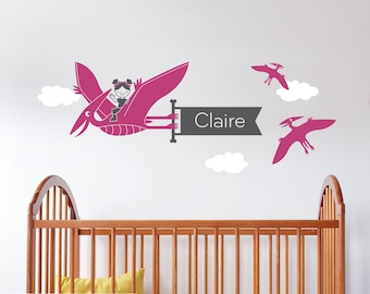 Girl Dinosaur Name Wall Decal Pterodactyl Personalized Banner Cute Dino Baby Girl Nursery Kids Theme Dinosaur Room Decor