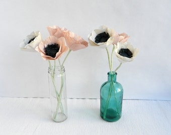Five pieces of pink and white paper anemones, paper flowers, anemone,