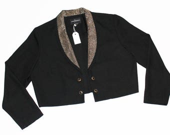 Black Blazer with Gold Lapel and Gold Buttons