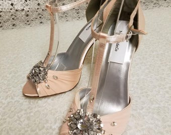 """Size 8 Blush Wedding Shoes High heels Modern,Open Toe T Strap Satin Pumps 3.5"""",Blush Pink Peep Toe Heels, Old Hollywood, Great Gatsby Style"""