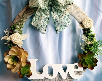 Minimal Love Wreath with Rustic Floral and Succulent Accents Perfect for Farmhouse Gallery Wall, Front Door, Housewarming Gift, Gift for Her