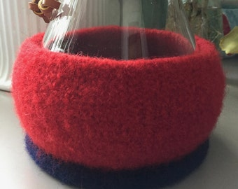 Bright Red and Navy Felted Wool Cozy for 8-Cup Chemex Coffee Brewer
