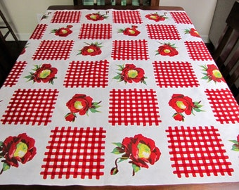 Vintage Tablecloth, Vintage Floral Tablecloth, 1940s, Vintage Linens, Red Checked, Picnic Tablecloth, Retro Linens, Red and white, Bold